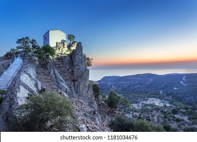 The White Church of Holy Mary Krimniotissa on the island of Samothrace in Greece