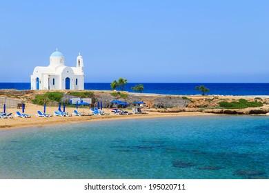 White church on a shore in Protaras near Aiya Napa, Cuprus