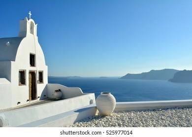 White church in Santorini, Greece