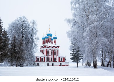 White church in winter in Uglich