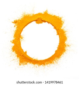 white circle of  turmeric powder on white background.