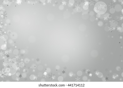 white circles and black snow bokeh effect on gray color background, bokeh concept