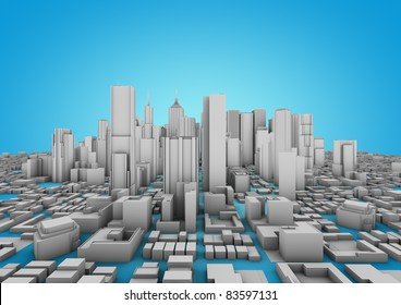 white city on a blue background