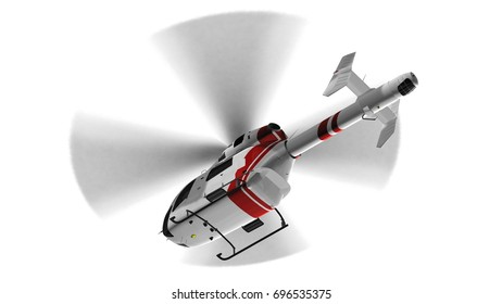 White civilian helicopter in flight - isolated white background - 3d render