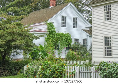 White clapboard houses with picket fences and flowers and vines growing up on them