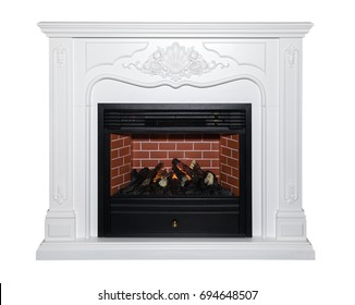 White classic fireplace isolated on white background