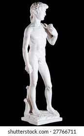 White classic marble statue of David  isolated on black background