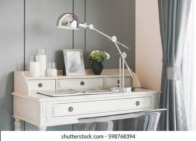 White classic style working table with table lamp chrome finished