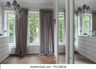 White classical bedroom interior