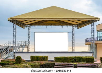 white clean billboard on a stage with copy space zone for logo, text or advertising caption