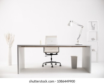 White clean office with white furniture and office supplies