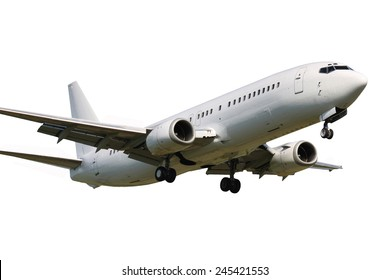 White clean plane landing on white background