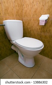 white clean toilet, nice bathroom