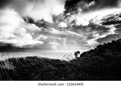 White cliffs of Dover landscape photo in black and white