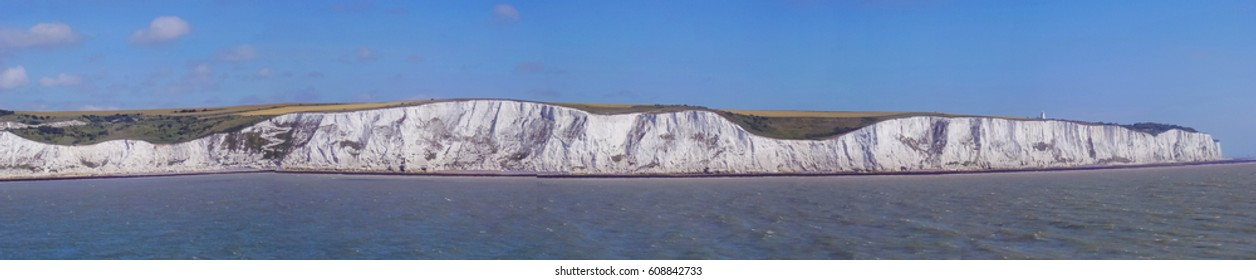 White Cliffs of Dover from the sea. England, East Sussex. Between France and UK