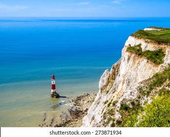White cliffs and lighthouse. Eastbourne, East Sussex, England (UK)