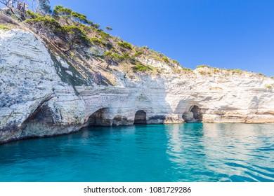 White cliffs on the coastline in Pugnochiuso, Apulia, Italy