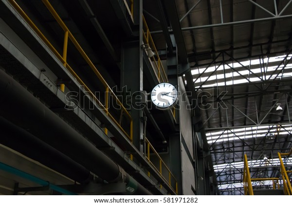 White clock in Thailand Airport rail link depot