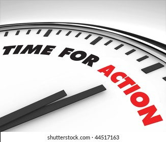 White clock with words Time for Action on its face