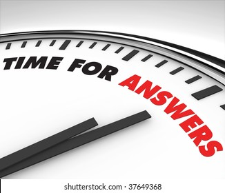 White clock with words Time for Answers on its face