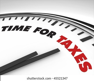 White clock with words Time for Taxes on its face