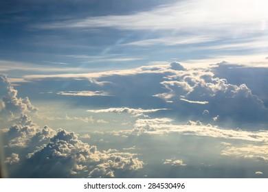 White cloud against sun light in rainy season
