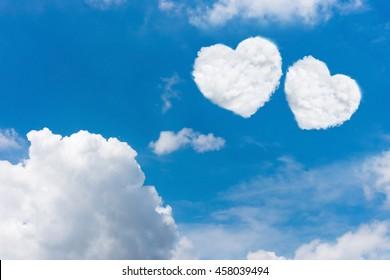 White cloud heart shape in blue sky