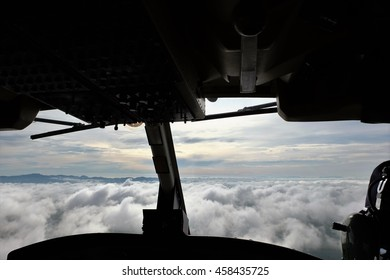 White cloud from Helicopter pilot in the morning