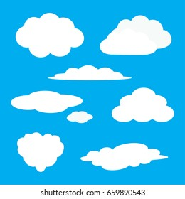 White cloud icon set. Fluffy clouds. Cute cartoon cloudscape. Cloudy weather sign symbols. Flat design Web, app decoration element. Blues sky background. Isolated.