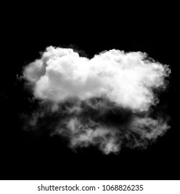 White cloud isolated over black background illustration, 3D rendering, single cloud natural object
