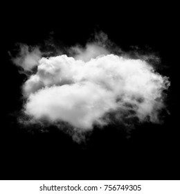 White cloud isolated over black background, 3D illustration, realistic cloud shape rendering, cloud shape template
