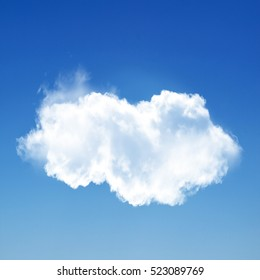 White cloud isolated over blue background, 3D rendering design element high resolution illustration
