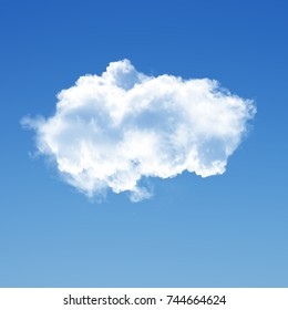 White cloud isolated over blue sky background 3D illustration, realistic cloud shape rendering