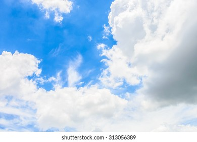 White cloud on blue sky background