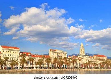 White clouds above the Palace of Diocletian and the old town of Split, Croatia