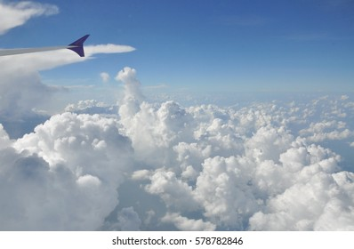 White clouds from airplane view
