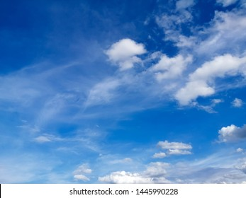 White clouds in the beautiful sky,Blue sky with clouds for background, soft focus