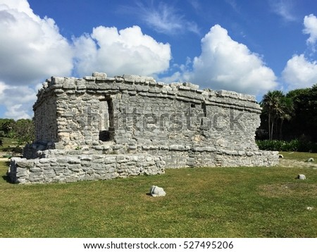 White Clouds Blue Sky Tulum Ruins Stock Photo Edit Now
