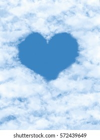 White clouds composed of heart blue.