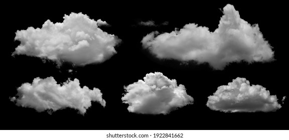 White clouds isolated on black background, clounds set on black - Shutterstock ID 1922841662