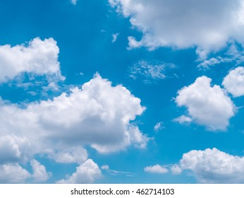 White clouds movement with beautiful on blue sky, sky on pattern clouds background,