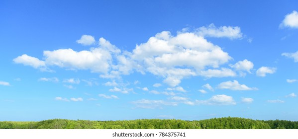 White clouds on blue sky.