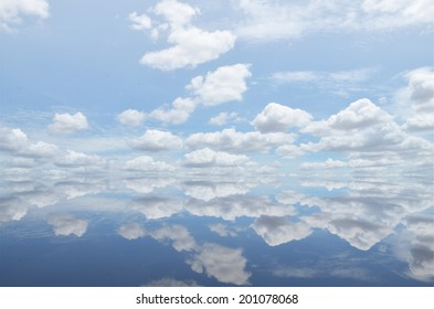 White clouds over the ocean