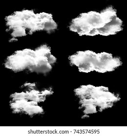 White clouds set, natural 3D illustration of fluffy cumulus clouds isolated over black background, cloudscape 3D rendering