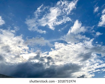 White cloudy in the evening blue sky