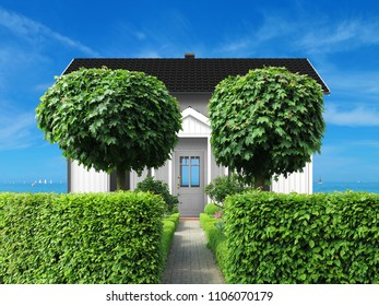 white coastal holidy home with frontyard, hedge and view to the sea with sailing boats - 3d rendering