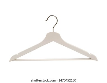 White coat hanger on white background and clipping path.