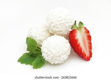 White coconut candy with strawberry