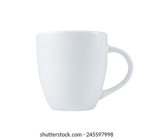 White Coffee Cup (Ceramic or Porcelain) side view isolated on white with clipping path