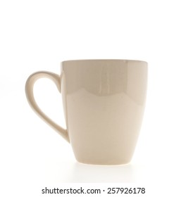 White coffee cup isolated on white background